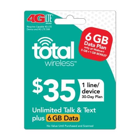 Total Wireless $35 Plan (6GB) w/ email delivery only $32.38+tax Limit 2 per order.