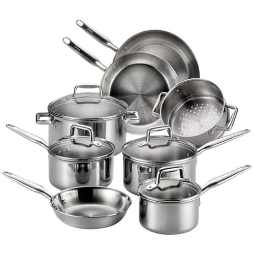 12-pc T-fal E469SC Tri-ply Stainless Steel Multi-clad Dishwasher Safe Oven Safe Cookware Set  (Amazon Deal of the Day) $104.93 or $89.93 (with coupon for Prime member)