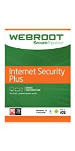 $19 for Webroot Internet Security Plus + Antivirus 2018 | PC | 3 Device | 1 Year Subscription