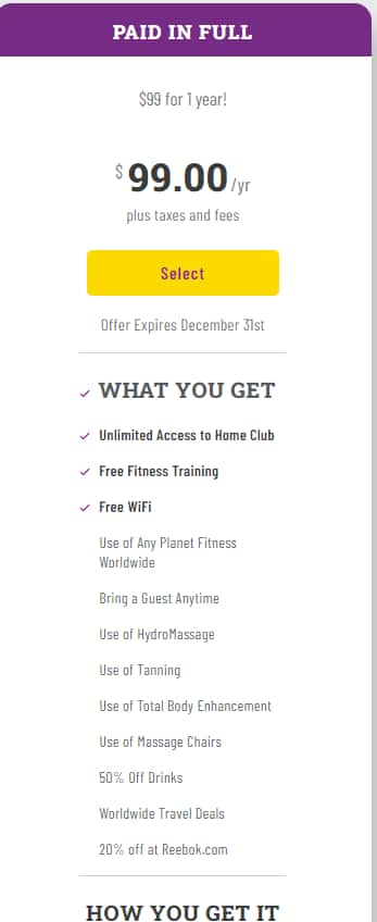 Planet Fitness $99 for 1 Year Membership -  YMMV