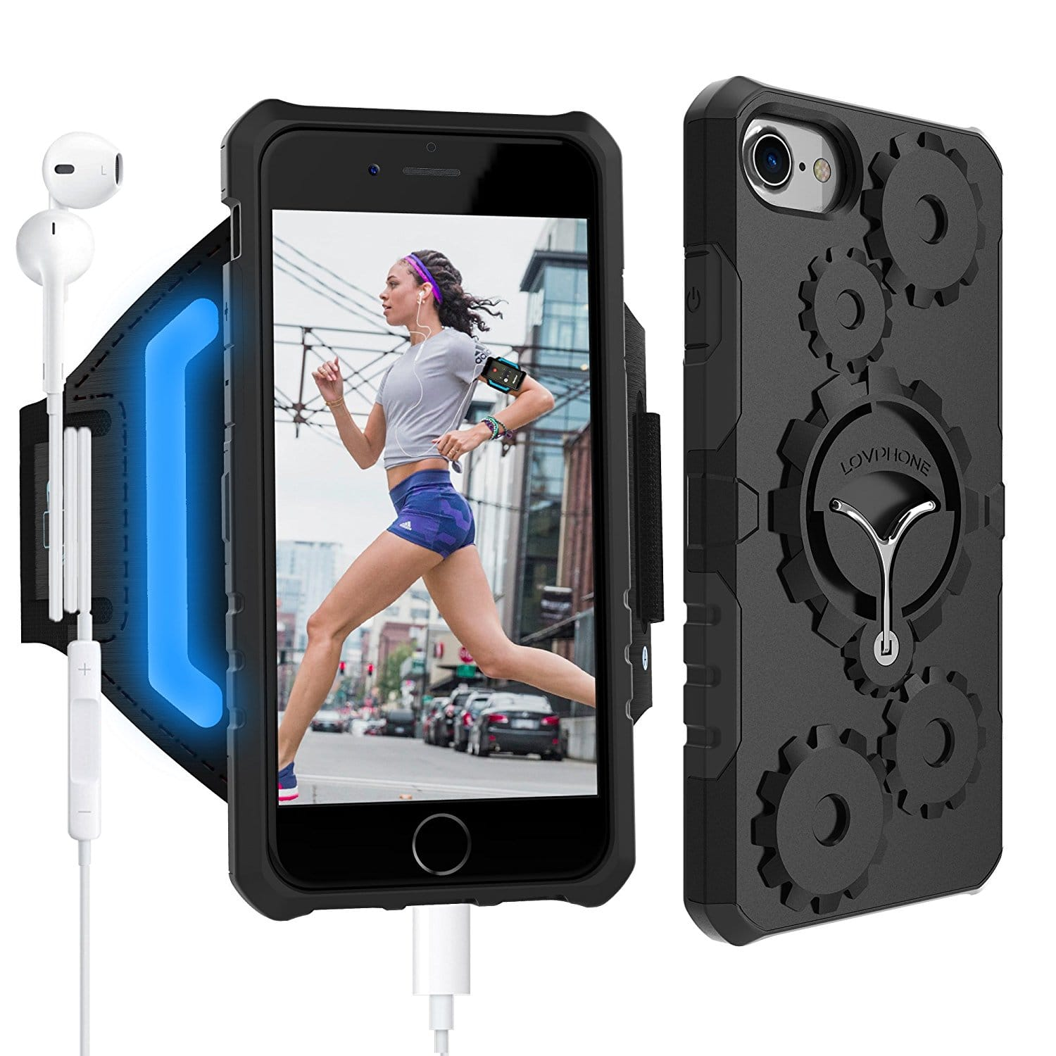 Armband & Armour Case Set - LOVPHONE Sport Running Armband + with Key Holder Kickstand for iPhone 6/6S/7/7 Plus AC on Amazon FS w/Prime $9.89