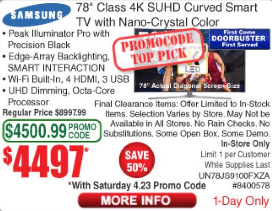 """78"""" Samsung 4K Curved Smart SUHD TV UN78JS9100 $4,497 