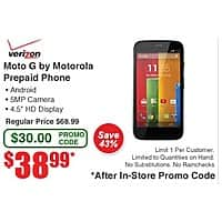 Frys Deal: Motorola Moto G Verizon $39 at Fry's Electronics with Promo Code in Store Only