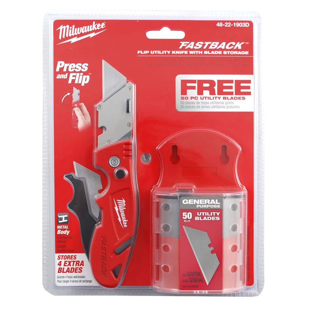 Fastback Flip Utility Knife with Blade Storage and 50-Blades $15 Home Depot-Free Pick up or free shipping with $45 order