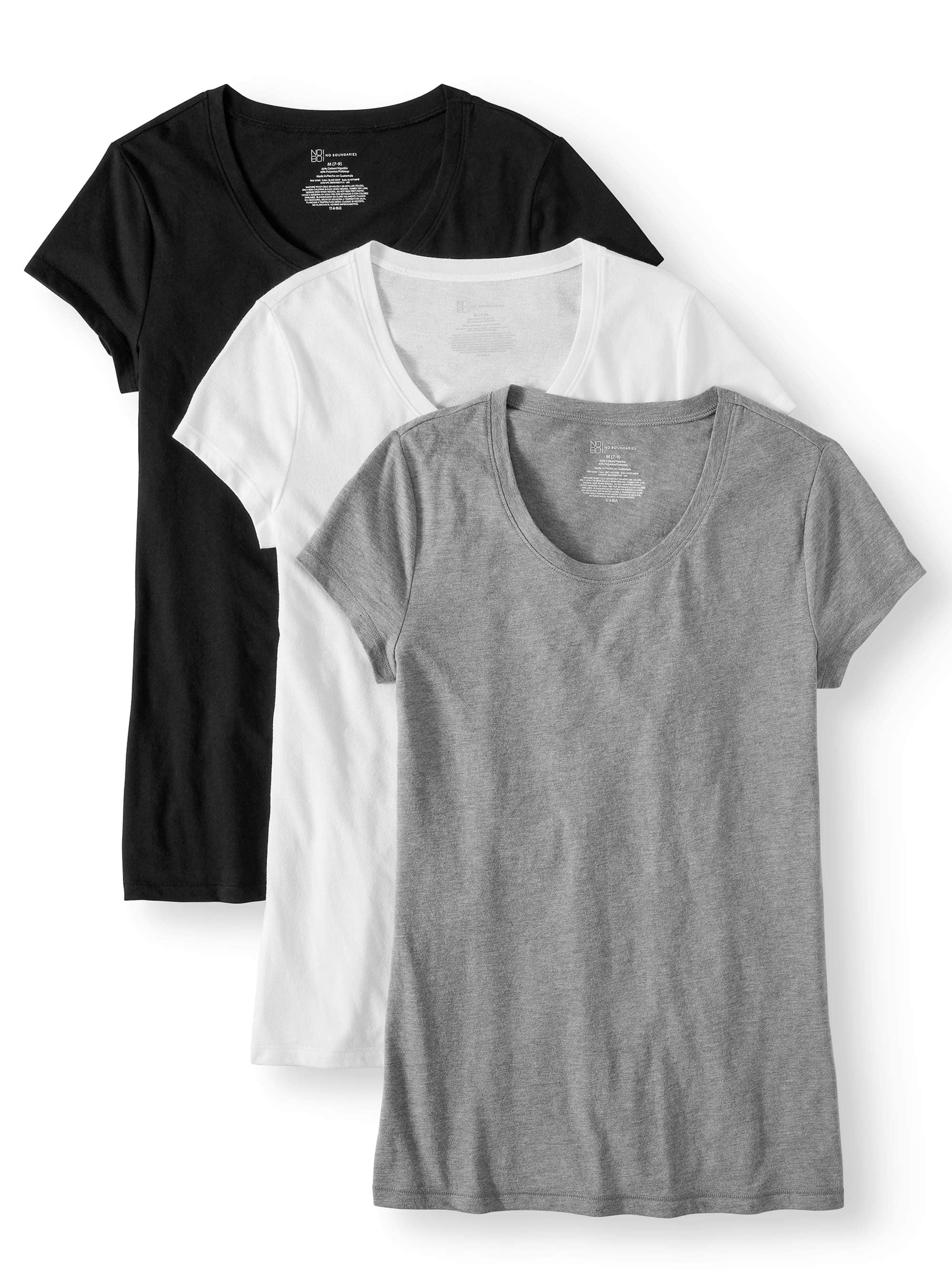 No Boundaries Women's Short Sleeve T-Shirt (3-Pack) $8.50