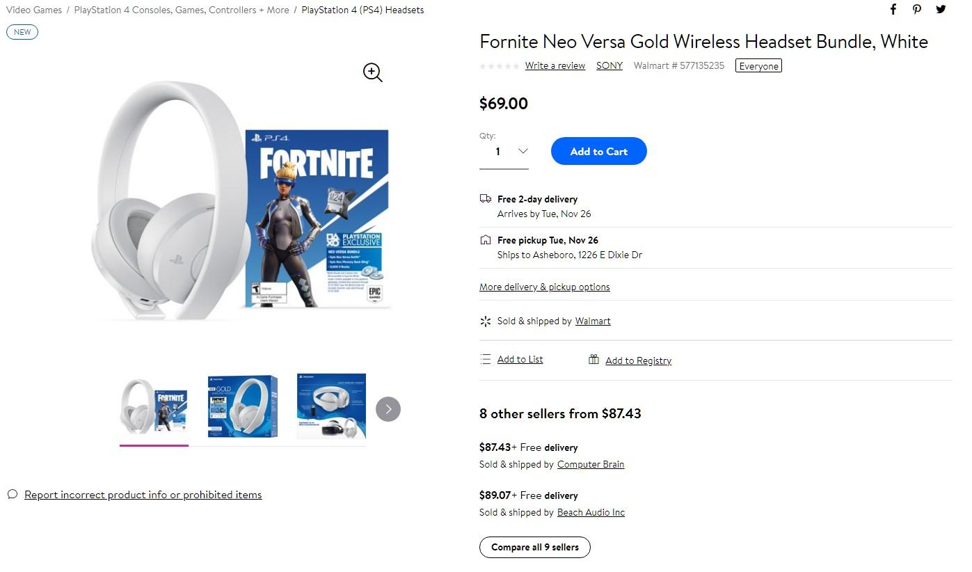 Sony Gold Wireless Headset Fortnite NEO Bundle White $69