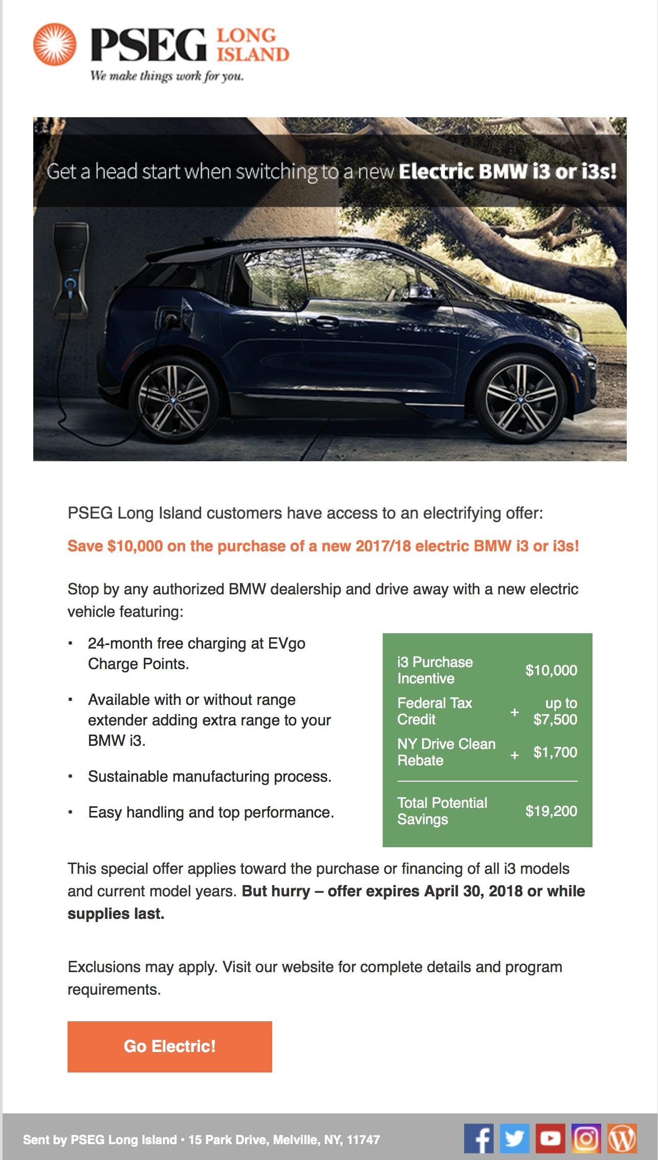 PSEG LONG ISLAND BMW i3 $10,000 OFF