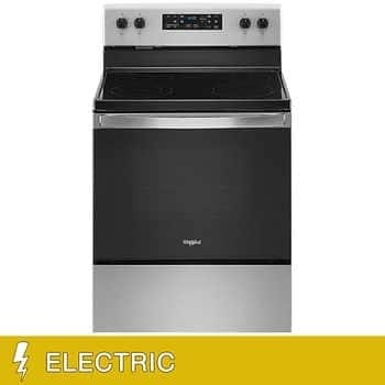 Costco Whirlpool 5.3 CuFt ELECTRIC Freestanding Range with Frozen Bake Technology in Stainless Steel - $599.99