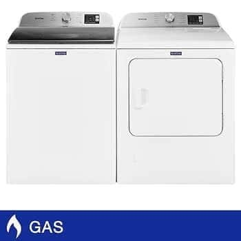 Costco Maytag 4.8 cu. ft. Washer and 7.0 cu. ft. GAS Dryer with Wrinkle Control in White - $1199.99