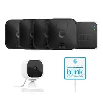 Costco Blink 5 Camera Security System - 4 Outdoor Battery Powered Cameras, 1 Mini Indoor Plug-in Camera, with Yard Sign - $249.99