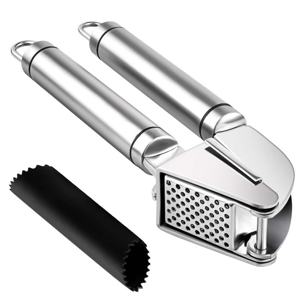 Garlic Press and Peeler Set. Stainless Steel and Silicone Tube Roller Silicon Rolling Tube Peeler $6.59 AC + FS w/Amazon Prime