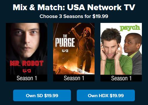VUDU Mix and Match 3 for $20 USA TV Seasons, Mr. Robot, The Purge
