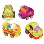 "B. Wheeee-ls (set of 4 ""pull & go"" toy cars) - $10.84 @ Amazon (ships free with prime or @ $35)"