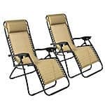 2-Pack Zero Gravity Lounge Patio Chairs (Tan) $60 + Free Shipping