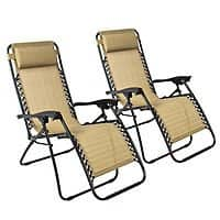 eBay Deal: 2-Pack Zero Gravity Lounge Patio Chairs (Tan) $60 + Free Shipping