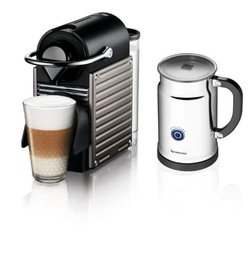 Nespresso Pixie Espresso Maker With Aeroccino Plus Milk Frother (Electric Titan) $145 + Free Shipping
