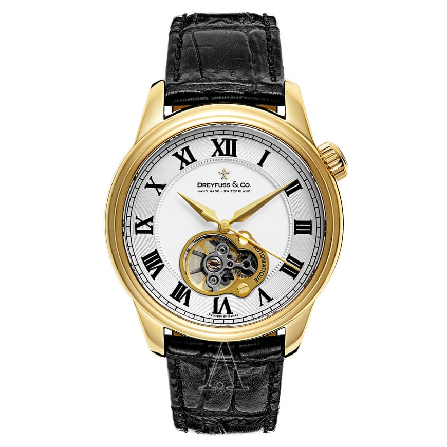 Dreyfuss 1925 Open Heart Men's Automatic Watch $449 + Free Shipping