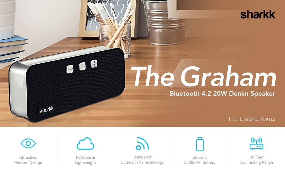 Sharkk Graham 20W Portable Bluetooth 4.2 Speaker w/ Mic $20 w/ Free Prime Shipping