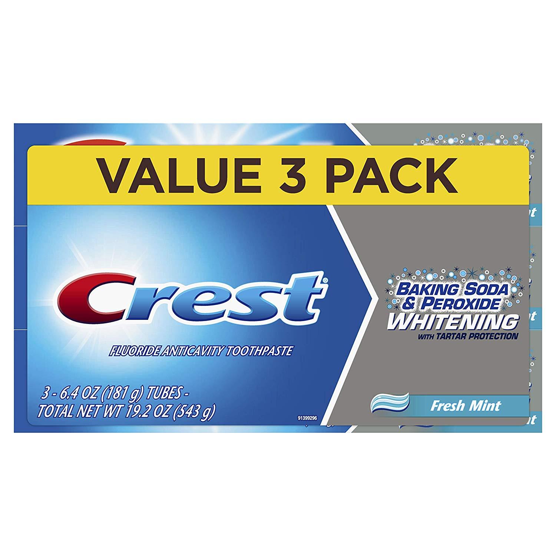 3-Ct 6.4oz Crest Baking Soda & Peroxide Whitening & Tartar Protection Toothpaste $3.95 w/ Prime shipping