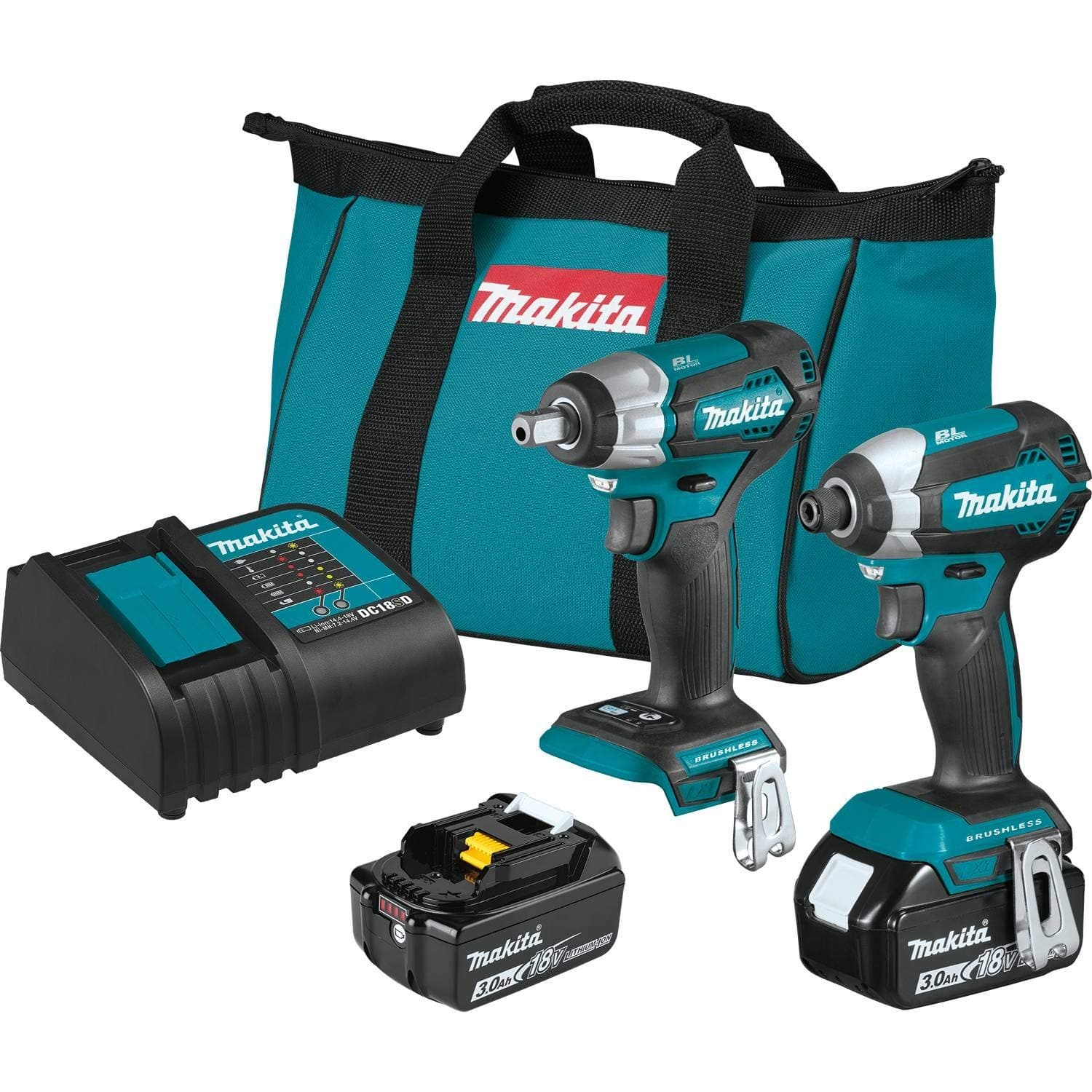18 Volt Makita LXT Lithium-Ion Brushless 2-Piece Combo Kit (Impact Wrench & Driver w/ two 3.0Ah Batteries) $149 + free shipping
