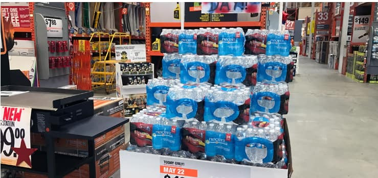 Deals of the Day: 24 Pack - $1.98 ($0.08 each) Bottled Water & $14.97 Rubbermaid Cooler at Home Depot!