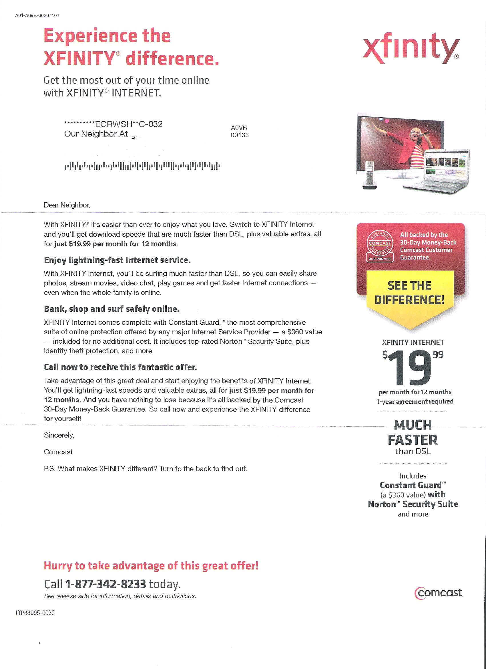 Ultimate Comcast / Infinity Internet deal- $19.99/Month for 1 year with no  additional