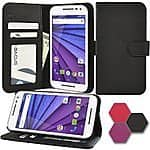 Moto G 3rd Gen Wallet Case (Abacus24-7) Leather Flip Cover with Card Holder and Kickstand at $4.99 with Free Shipping