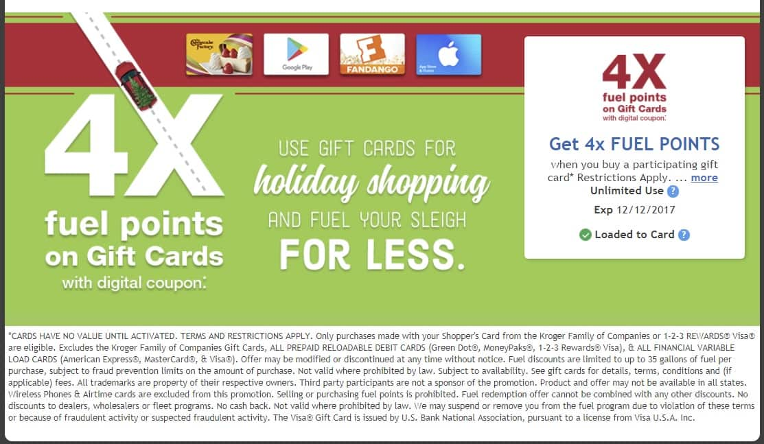 Kroger 4X Fuel Points on Gift Card Purchases when you login and load Digital Coupon Offer Exp 12/12 Unlimited Use