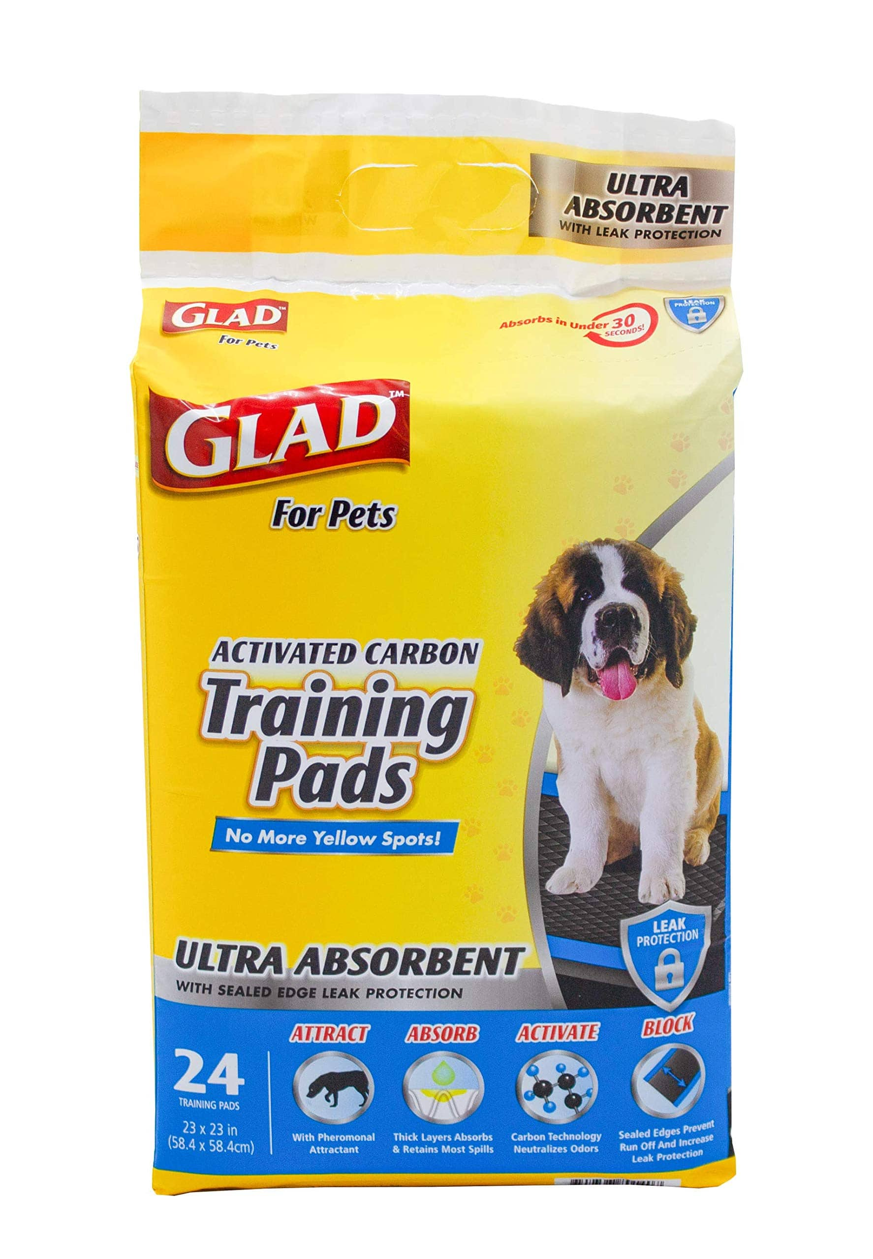 Glad for Pets Heavy Duty Ultra-Absorbent Activated Charcoal Dog Training Pads 23x23 in. 24ct $3.16 after coupon at Amazon.com