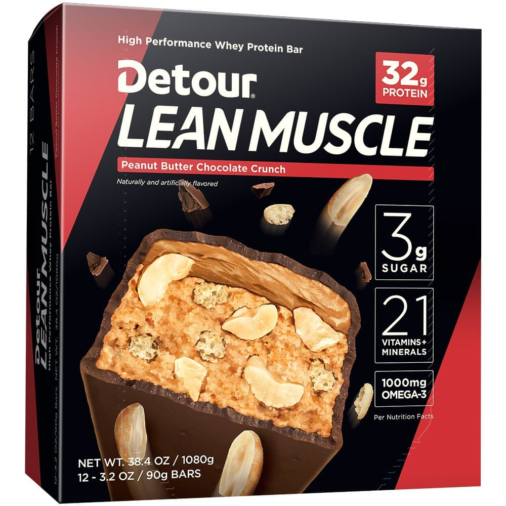Detour Lean Muscle Whey Protein Bar, Peanut Butter Chocolate Crunch, 3.2 Ounce (Pack of 12) $11.12 with s/s