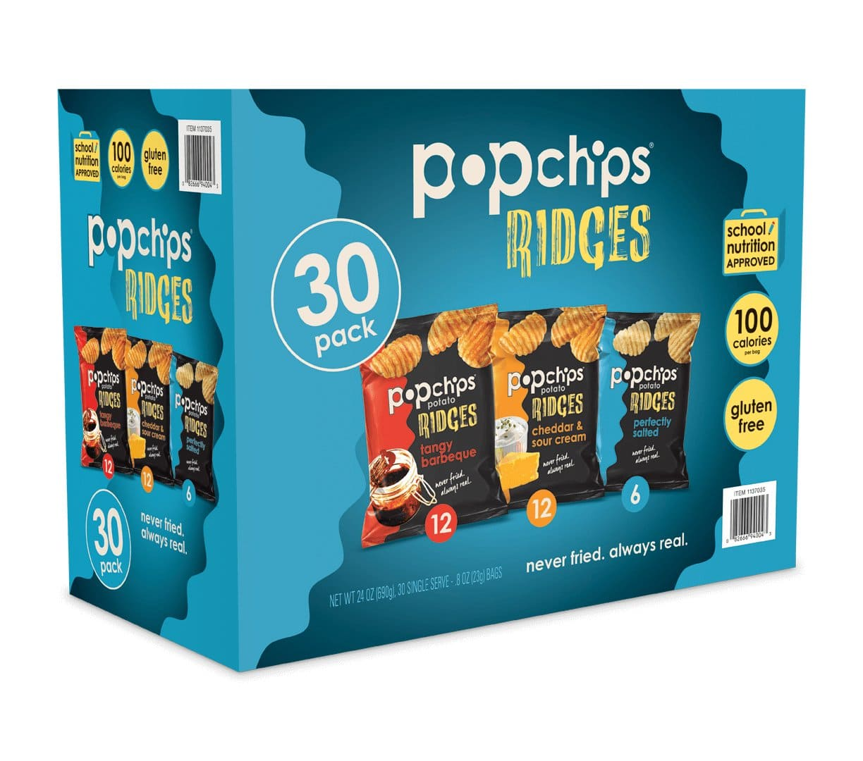 Popchips Ridges Potato Chips Variety Pack Single Serve 0.8 oz Bags (Pack of 30) 3 Flavors $8.41 with s/s