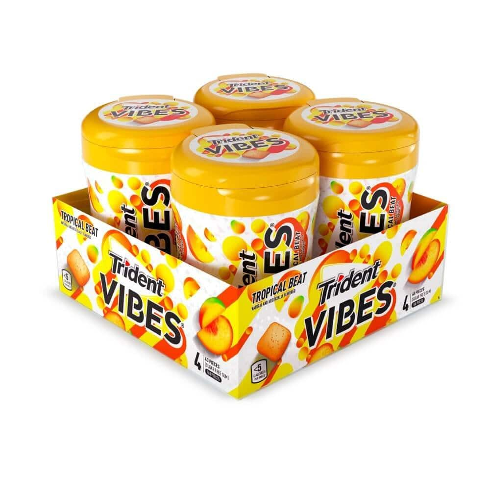 Amazon Warehouse - Trident Vibes Tropical Beat Sugar Free Gum, 4 Bottles of 40 Pieces (160 Total Pieces) $4.58