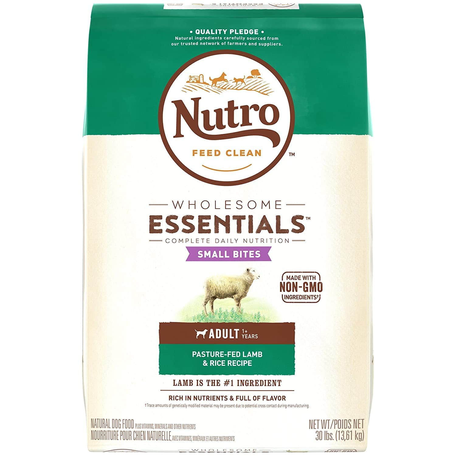 Nutro Wholesome Essentials Small Bites Adult Lamb & Rice Dry Dog Food 30lbs $33.95 with s/s