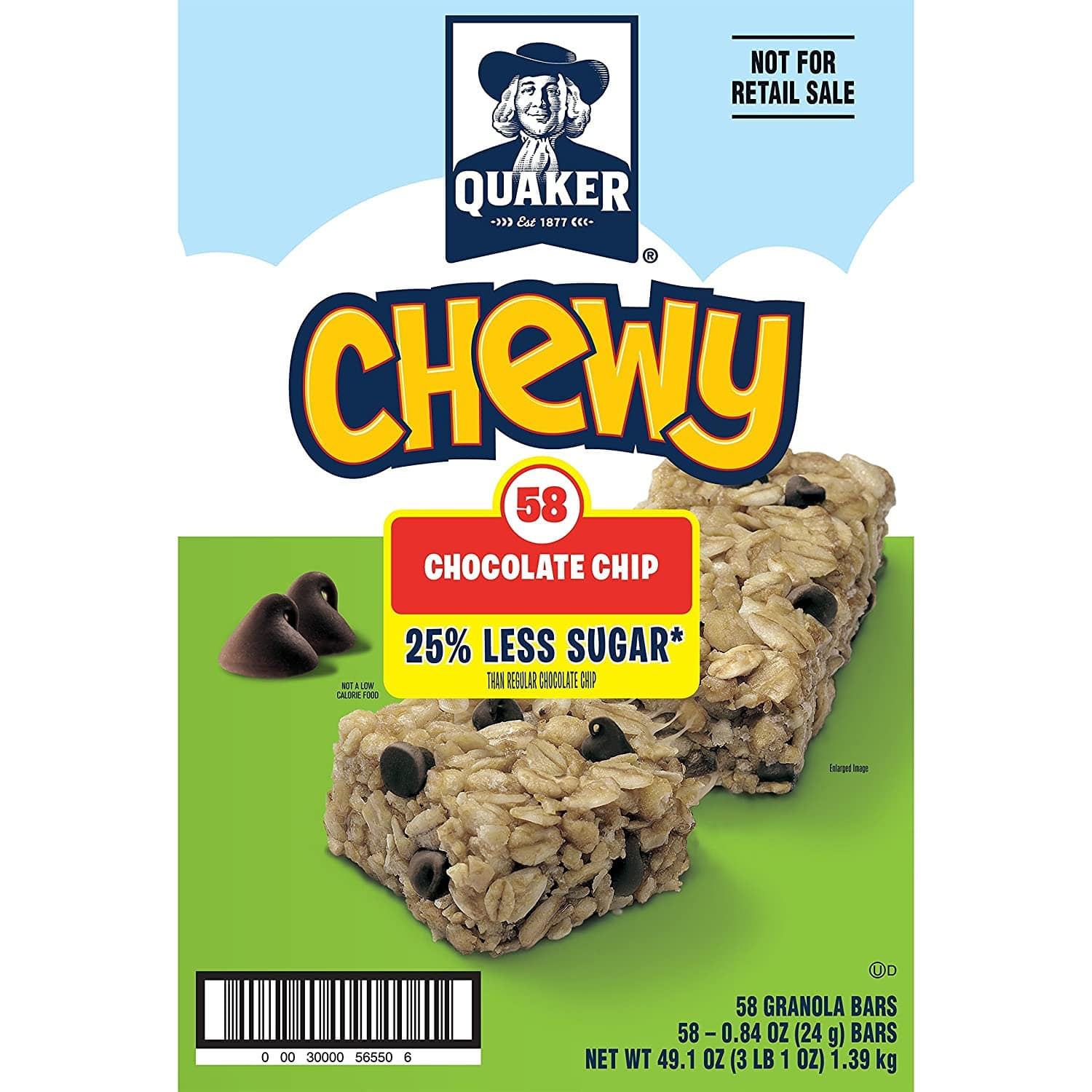 Quaker Chewy Granola Bars, 25% Less Sugar, Chocolate Chip, (58 Pack) $3.44 with s/s