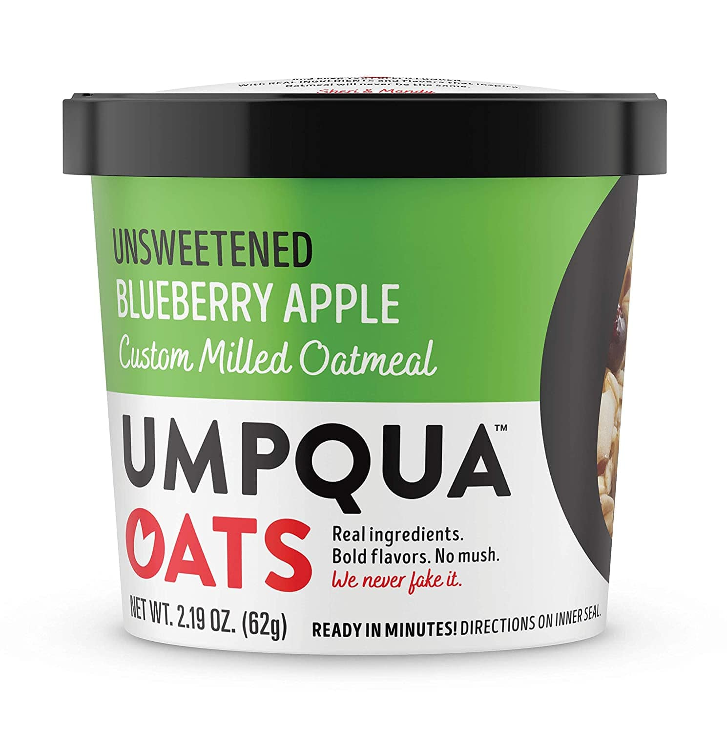 Umpqua Oats All Natural Oatmeal Cups, Unsweetened Blueberry Apple, 8 Count $3.69