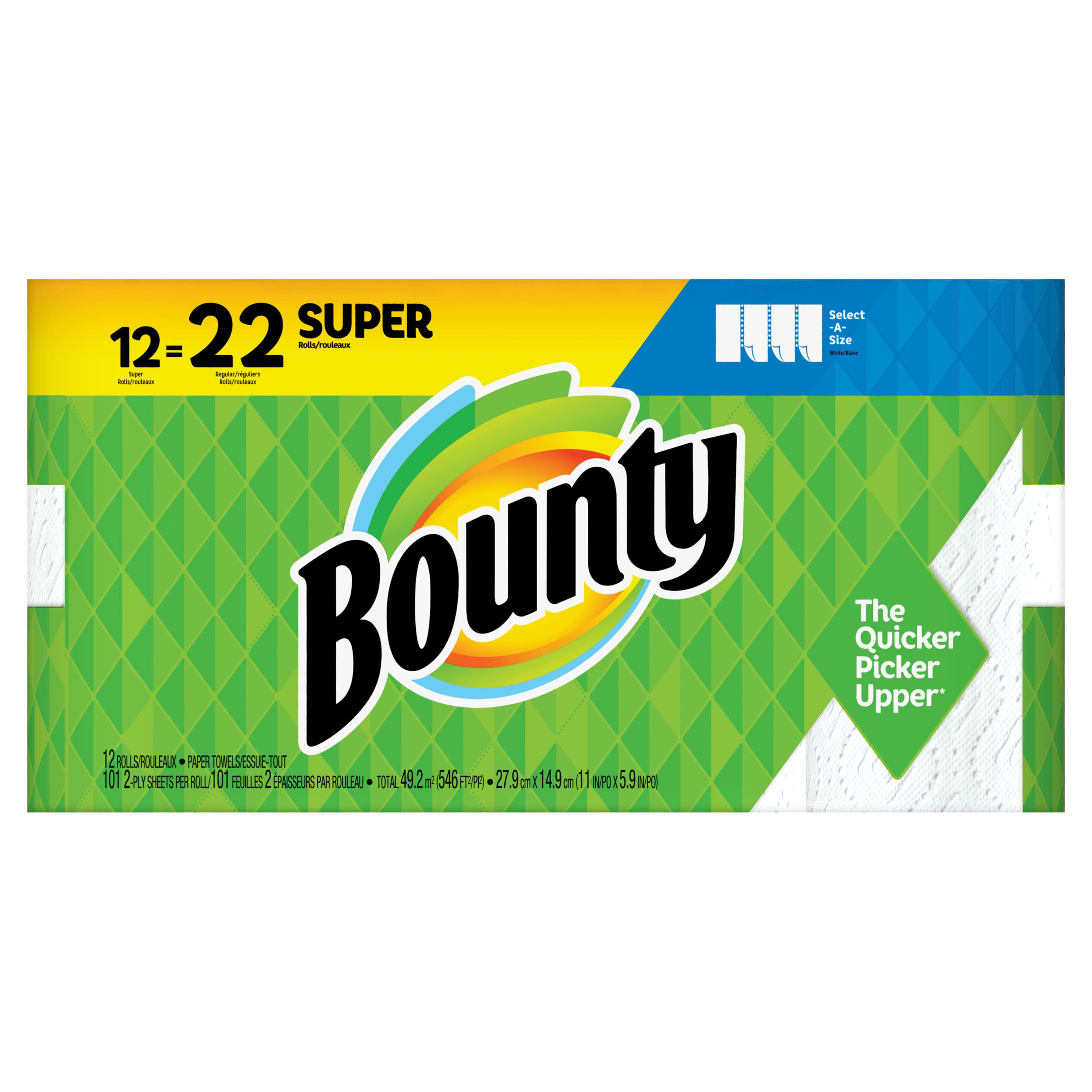 Bounty Select-A-Size Paper Towels, White, 12 Super Rolls = 22 Regular Rolls $18.34