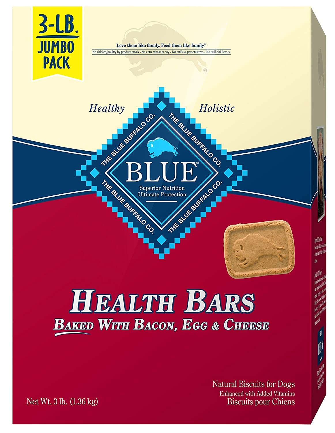 Blue Buffalo Health Bars Natural Crunchy Dog Treats Biscuits 3lb (Bacon Egg & Cheese) $4.25 with s/s