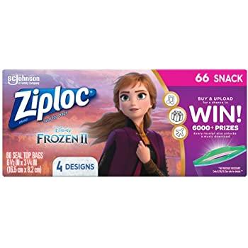 Ziploc Snack Bags, 66 Count- Featuring Disney's Frozen Design $1.50