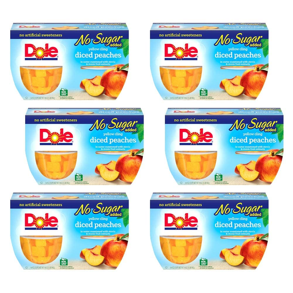 Dole Fruit Bowls No Sugar Added Yellow Cling Diced Peaches, 4 Cups (6 Pack) $3.25 with s/s