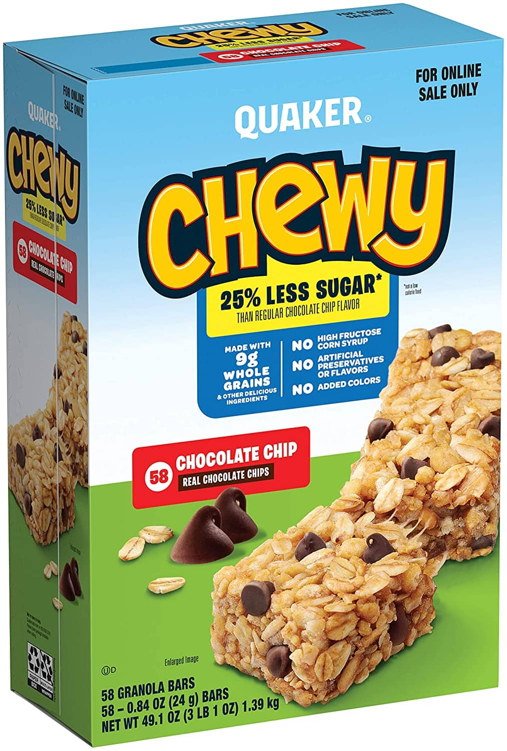 Quaker Chewy Granola Bars, 25% Less Sugar, Chocolate Chip (58 Pack) $6.03 with s/s