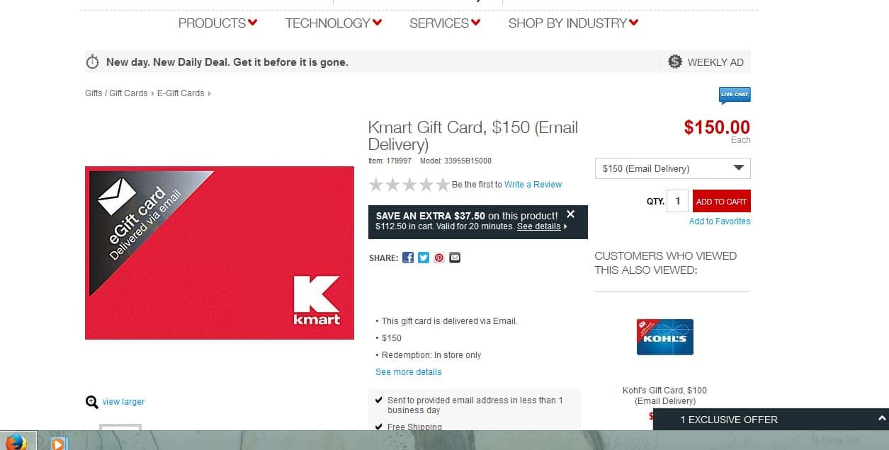 Kmart $150 gift card $112.50 (email delivery) @Staples online YMMV Exclusive Offer