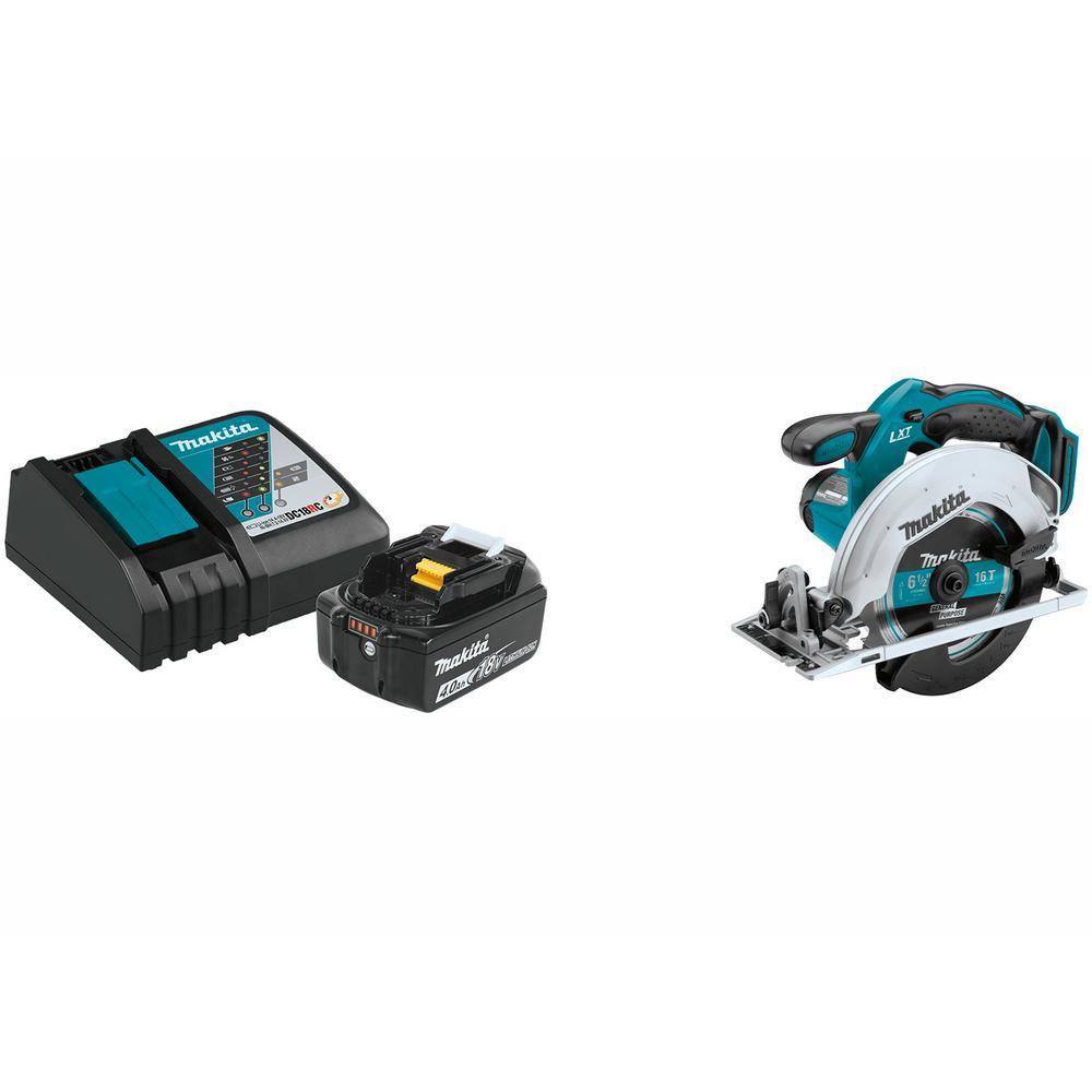 18V LXT Lithium-Ion High Capacity Battery Pack 4.0Ah w/Fuel Gauge, Charger Starter Kit W/BONUS Lightweight Circular Saw - $129