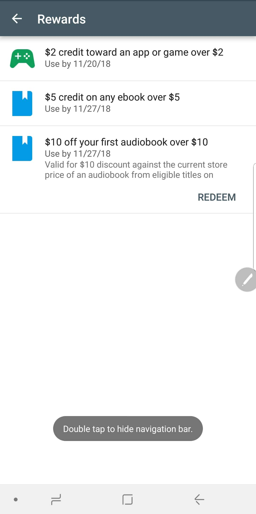 Google Play Store free credit towards ebook and Audiobook