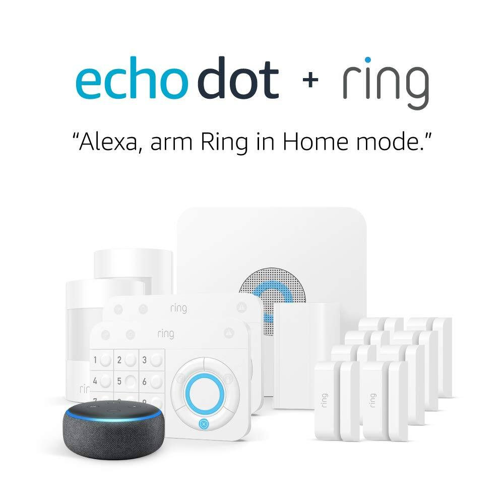 Ring Alarm 14-Piece Home Security Kit + Echo Dot 3rd Gen Smart Speaker and other ring alarm kit deals $229
