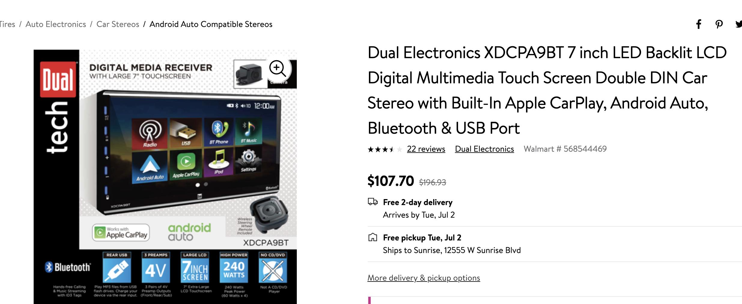Dual Electronics Xdcpa9bt 7 Inch Led Backlit Lcd Digital Multimedia