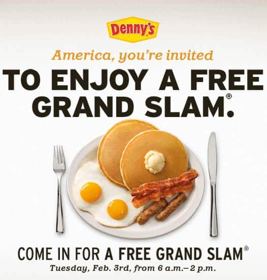 Free grand slam at Denny's NATIONAL  2.3.09