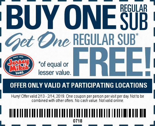 Jersey Mikes BOGO subs. Valid Feb 14th Valentine's Day!