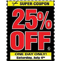 Harbor Freight Deal: Harbor Freight Tools 4th of July Sale 3 days only 25% off ANY Single Item Coupon