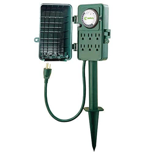 Century 24 Hour Mechanical Outdoor Multi Socket Timer, 6 Outlet Garden Power Stake $17.24