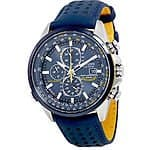 Citizen Eco Drive Blue Angels World Chronograph Blue Leather Mens Watch - ebay.com - $250
